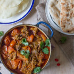 Slow Cooked Lamb Curry with naan bread