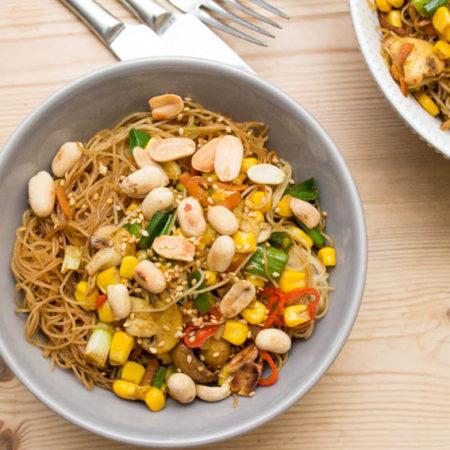 Vegetable Singapore Noodles close up