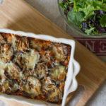 Layered Ragu and Aubergine Pasta Bake close up