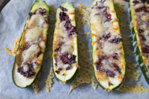 Olive and Fontina Baked Courgettes close up
