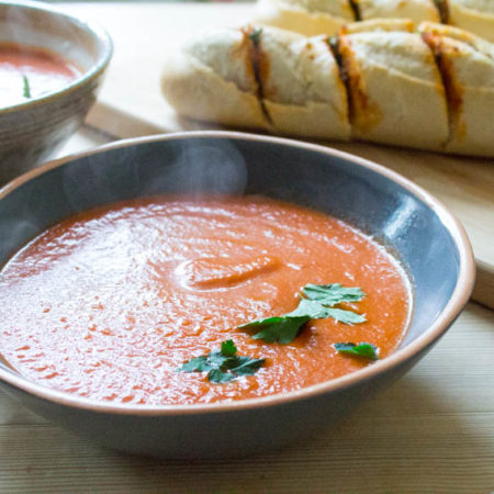 Smoky Chipotle Tomato Soup - with tomato bread
