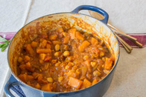 Squash and chickpea tagine ready to serve