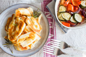 rosemary and garlic halloumi with roasted veg