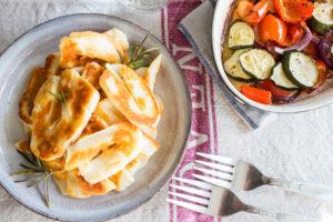 rosemary and garlic halloumi with roasted veg