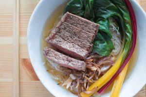 beef ramen with chard and onions