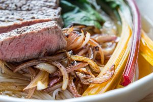 beef and chard ramen close up