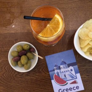 Aperol and olives before editing