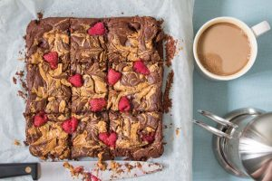 peanut butter and raspberry brownies