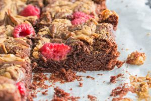 inside gooey peanut butter brownies