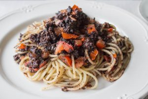 sage and black pudding pasta with fresh tomatoes