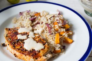 miso and lime dressing with spiced sesame chicken