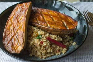 miso roasted aubergine with chard and brown rice