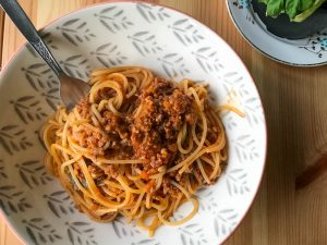 Proper Ragu served with spaghetti