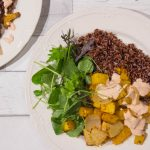 Harissa Roasted Squash with red rice and salad