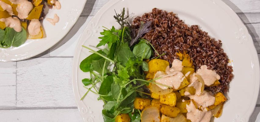 Harissa Roasted Squash and Red Rice