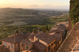 Sunset over Montepulciano on our Italian road trip