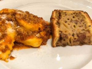 Cappallacci di zucca ferraresi (pumpkin filled pasta with ragu) and pasticcio di maccheroni (mushroom and creamy pasta pie)