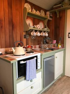 Kitchen inside the shepherd's hut