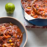 chipotle and bean soup served with lime
