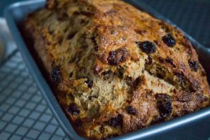 Fruit Loaf close up with dried cranberries