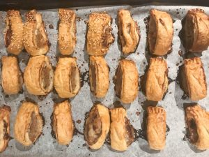 roasted onions in sausage rolls