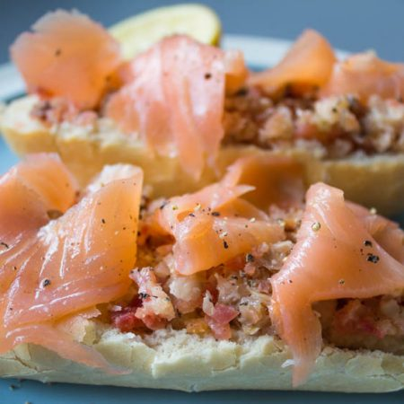 beetroot, horseradish and salmon sandwiches