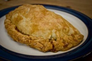homemade Cornish pasty out of the oven