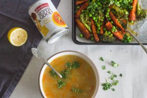 roasted superfood salad with baxters chicken noodle soup