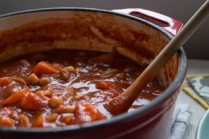 chickpea and harissa soup close up