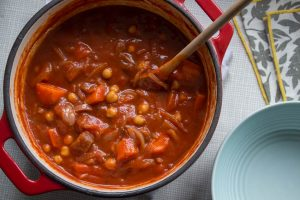 carrot, chickpea and harissa soup