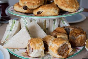 sandwiches and scones for afternoon tea