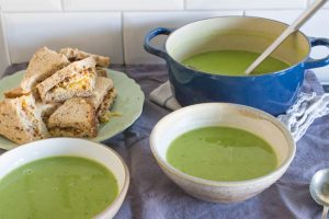 smoked pea soup with cheese sandwiches