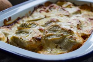 artichokes in gratin close up