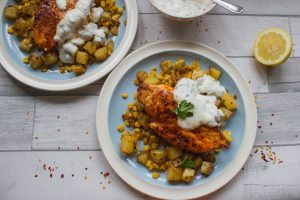 Chipotle Sweetcorn Hash with paprika chicken