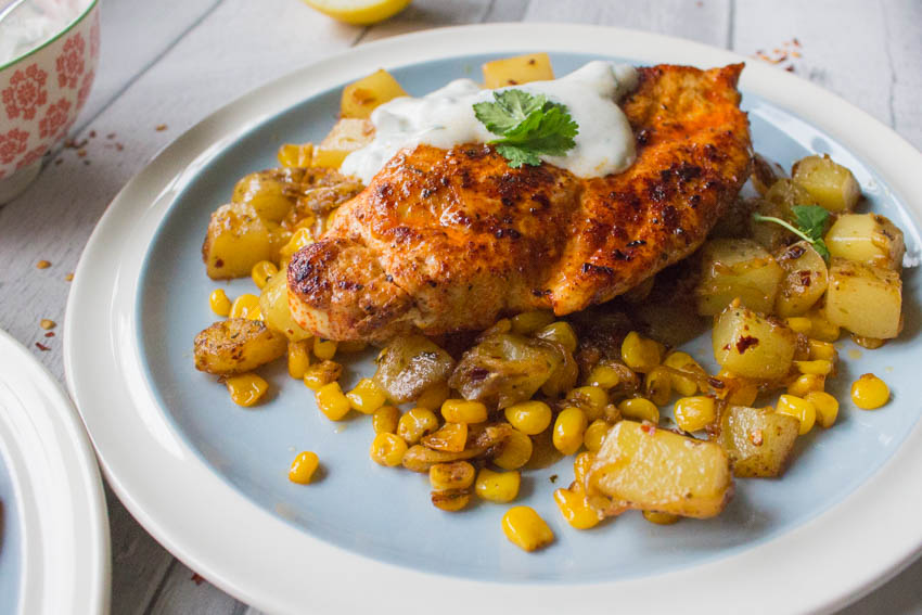 sweetcorn and potato has with chipotle and paprika chicken