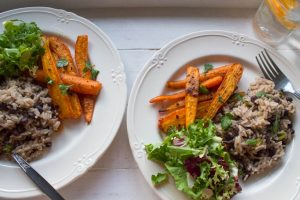 jerk carrots with rice and beans and salad
