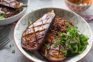 miso aubergine with rice and pickled cucumber