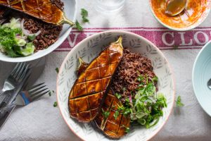 miso glazed aubergine, cucumber pickle and red rice