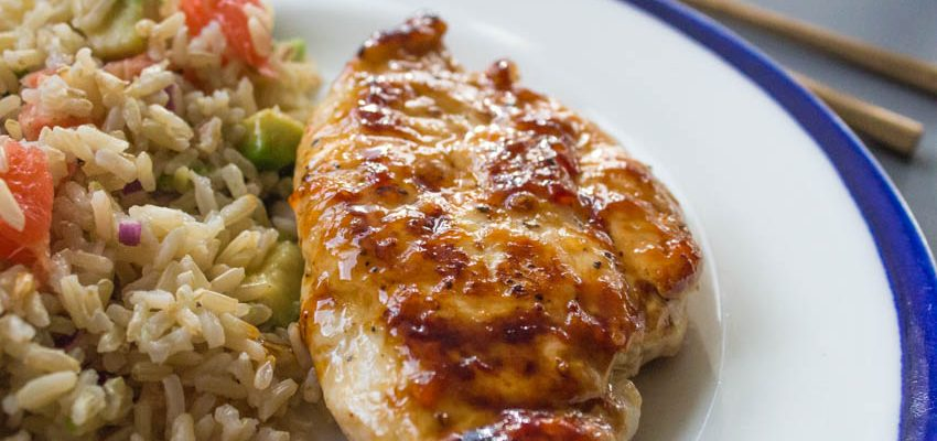 Sticky Chilli Chicken with Avocado Rice Salad