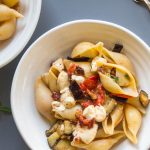 roasted aubergine and tomato pasta with mozzarella
