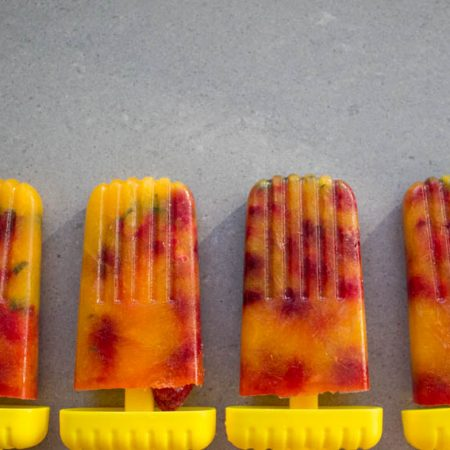 mint orange and raspberry ice lollies