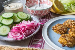 quick pickled onions and carrot falafel