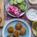 carrot falafel, pickled onions, cucumber and all the sides