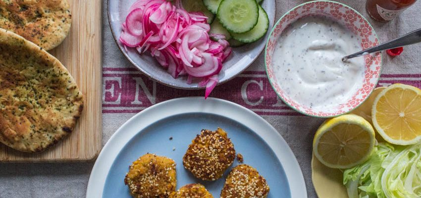 Carrot Falafel and Quick Pickled Onions