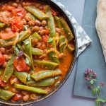 runner bean and tomato stew with crusty bread