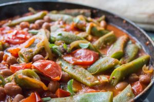 close up of runner bean and tomato stew