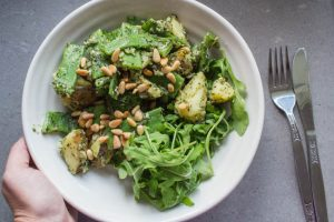 potato and pesto salad with chargrilled broccoli