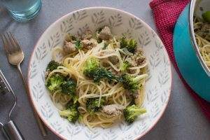 sausage and broccoli pasta with spinach
