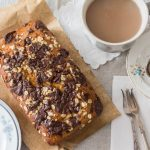 banana bread with chocolate, oats and honey