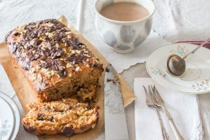 chocolate banana bread with oats and honey sliced